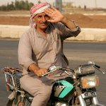 The Syrian Bedouins, besides camels, perfectly move on low-power motorcycles